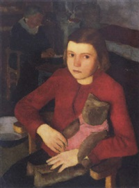 kislány mackóval (girl with a teddy bear) by endre hegedüs