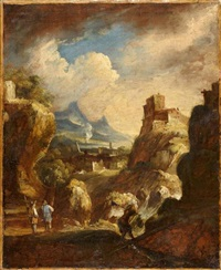 bergers dans un paysage de montagne by antonio francesco peruzzini