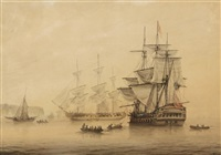 a british two-decker flying the broad pennant of a commodore by samuel atkins