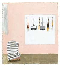pink wall with brushes (study) by janice biala