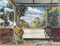shek on the verandah, the artist's house, wangi by william dobell