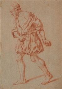 an old man walking, pulling a rope by jan de bray