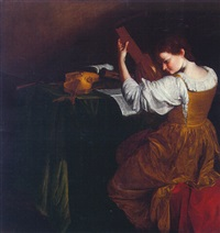 portrait of a lady playing the lute, seen from behind, seated at a table scattered with instruments and musical scores by orazio gentileschi