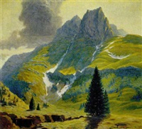gebirgslandschaft, cellonkofel by hermann poschinger