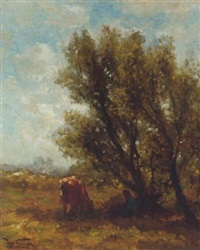 in de schaduw: resting under a tree by jan vrolijk