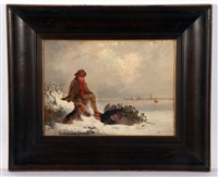 winter landscape with man and dog, with his christmas turkeys by edward robert smythe