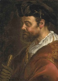 a tronie of a man in ceremonial robes with a gold chain and a hat by adam camerarius