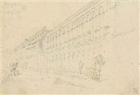 the praya grande, macao and the house of the east india company, macao (2 works) by george chinnery