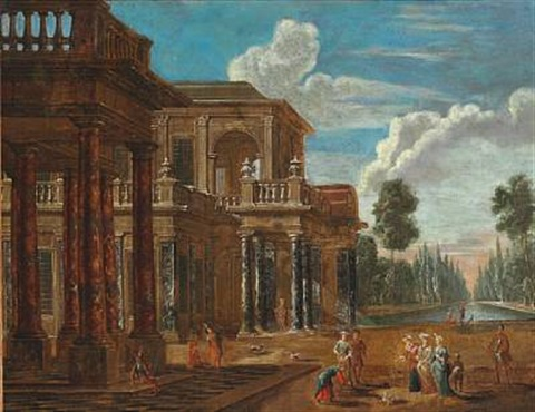 elegant people in a palace garden by giovanni paolo panini