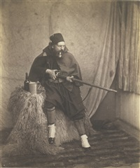 zouave, 2nd division (roger fenton dressed as a zouave) by roger fenton