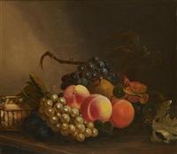 pêches et raisin sur un entablement by david emile joseph de noter