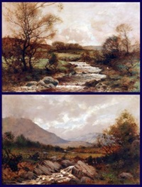 november in the glen (+ a river landscape; pair) by tom campbell