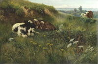 cattle in a meadow landscape by arthur wardle