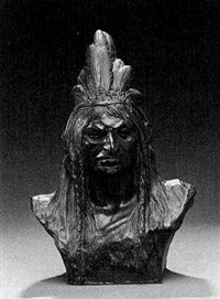 a bust of an indian chief by theodore baur