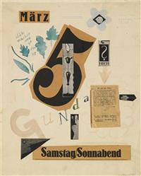 geburtstagsgratulation für gunta stadler-stölzl (birthday collage for gunta stadler-stölzl) by oskar schlemmer