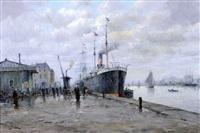 bateaux à quai, le port du havre by amélie burdin