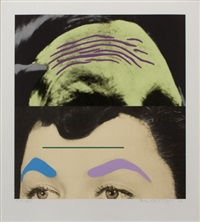 raised eyebrows/furrowed foreheads: two foreheads (one green) by john baldessari