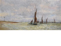 thames barges racing on the river medway by william lionel wyllie