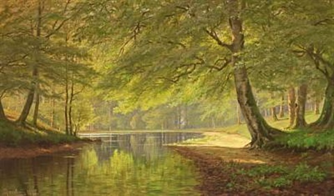 stream in the woods a sunny summers day in 1895 by august jacobsen