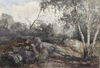 rocks in a wooded landscape by nathaniel hone the younger