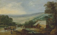 an extensive wooded landscape with figures and horse-drawn carts on a track by a cottage by joos de momper the younger