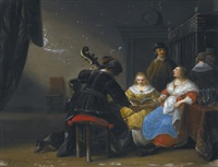an interior scene with two ladies singing, a man playing the cello by anthonie palamedesz