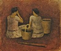 two sitting women by rufino tamayo