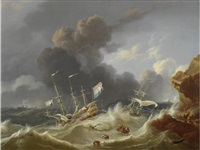 a dutch man o'war foundering in stormy seas by hendrik rietschoof