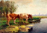 twee koeien aan de waterkant by fedor van kregten