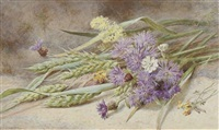 green wheat and wild flowers by helen cordelia angell