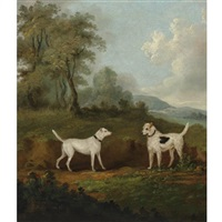 two dogs in a landscape by john francis sartorius