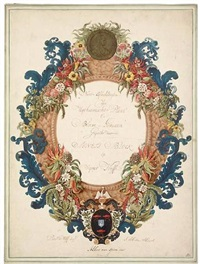 a floral frontispiece with a portrait medallion of agnes block by albert van (piramied) spiers