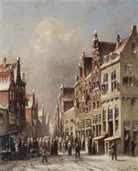 a dutch town in winter by pieter gerardus vertin