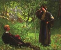 ungarisches paar auf einer waldlichtung by ferencz (franz) paczka