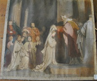 scène de la vie de sainte geneviève: l'adoration (+ la prise d'habit; 2 works) by alexandre-jean-baptiste hesse