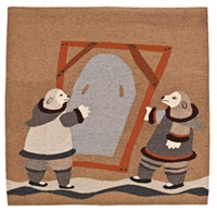 two bears with skin frame, tapestry #110 by malaya akulukjuk