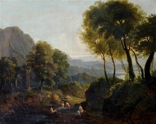 paysage italien animé de nymphes by jean victor bertin