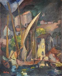 harbor scene by frantisek emler