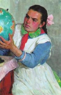 mädchen mit globus by tatiana nilovna jablonskaya