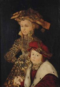 portrait of a lady and her son, three-quarter-length, in a gold embroidered dress and a red velvet fur lined coat... by franz wolfgang rohrich