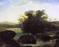 woman walking in a river landscape by thomas danby