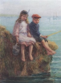 children fishing by edith hume