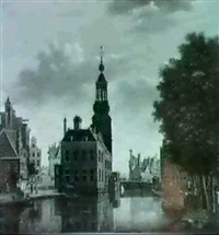 a view of the singel, amsterdam, with a barge being     loaded, the munttoren beyond by jan hulswit