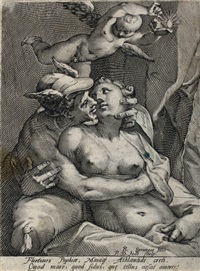 merkur und venus (after b. spranger) by peeter de jode the elder