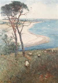 sheep grazing on a hillside with a coastal view beyond by alexander wellwood rattray