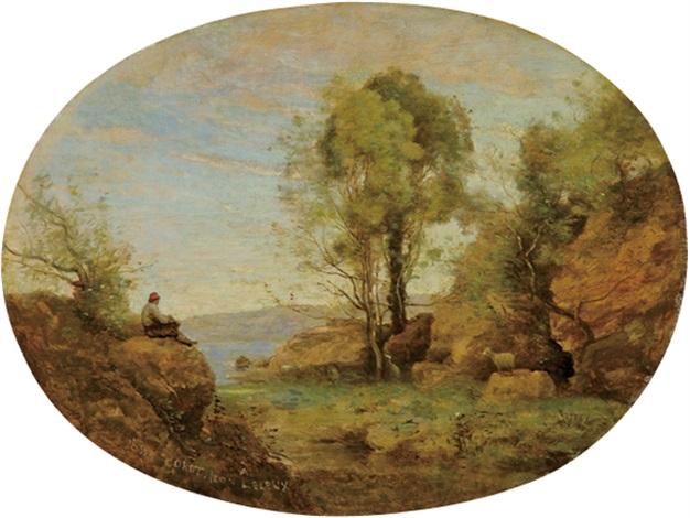 le pâtre dominant la gorge rocheuse by jean baptiste camille corot
