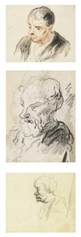 trois dessins: (i) tête d'homme (ii) buste d'homme (iii) tête en profil by honoré daumier