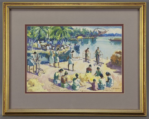 untitled river scene with cotton weavers by sayed haider raza