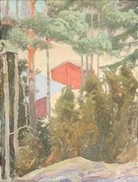 houses in the shadows of the trees by pekka halonen