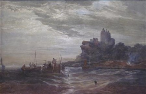 fishing by the castle by samuel bough